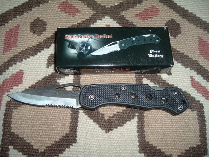 Frost Cutlery Knife Black Bomber Tactical - 4""