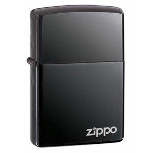 Black Ice Zippo Lighter with Zippo Logo