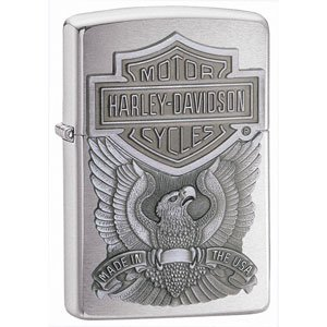 Brushed Chrome, Harley Davidson Made In The USA Eagle Zippo Lighter