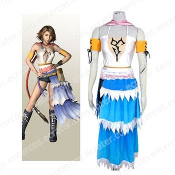 Final Fantasy X-2 Yuna Halloween Cosplay Costume  any size.