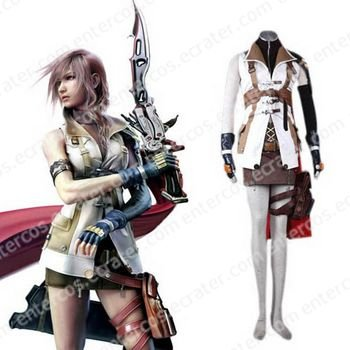 Final Fantasy XIII Lightning Halloween Cosplay Costume  any size.