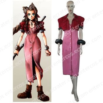 Kingdom Hearts Final Fantasy VII Aerith Halloween Cosplay Costume any size