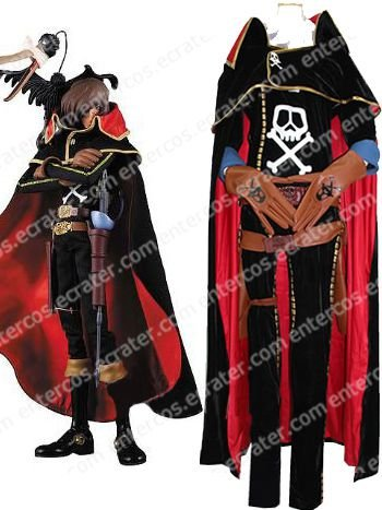 The Galaxy Express 999 Captain Harlock Halloween Cosplay Costume  any size