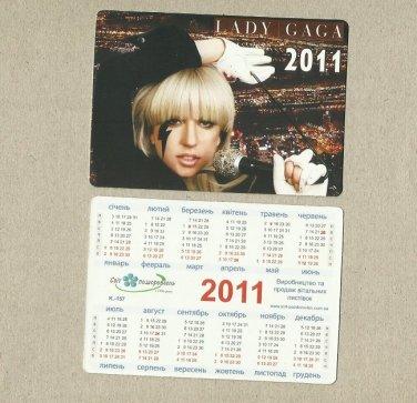 LADY GAGA RUSSIAN AND UKRAINIAN LANGUAGE CALENDAR BOOKMARK CARD 2011