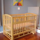 HARDWOOD HORIZONTAL SWING BABY CRIB CRADLE & MATTRESS!!!