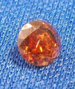 100% Natural Untreated Round Orange Red Diamond .48 ct