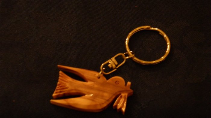 Olive Wood Keychain - Peace Dove