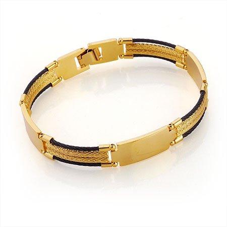 Gold Men's Bracelet Black