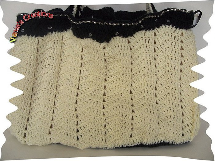 Cream and Black fashion Bag