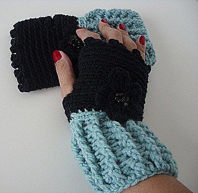 Black and Soft Sage Fingerless Gloves