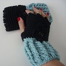 Black and Soft Sage Fingerless Gloves