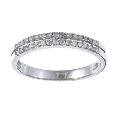 White Gold 1/4 TDW TwoRow Pave Diamond Ring (GH, I1-I2)