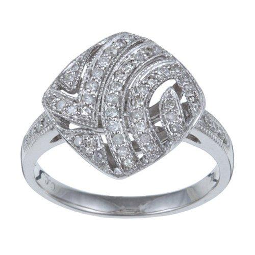 10k White Gold 1/3 TDW Pave Diamond Ring (G-H, I1-I2)