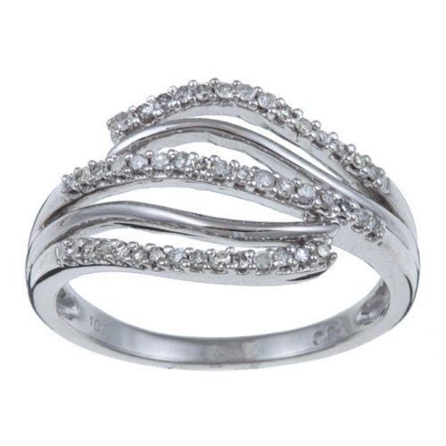 10k White Gold 1/5 TDW Pave Diamond Ring (G-H, I1-I2)