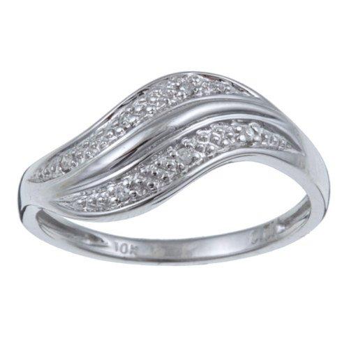 10k White Gold Curved Diamond Ring (G-H, I1-I2)