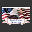 """God Bless America"" w/Eagle on Flag Decal"