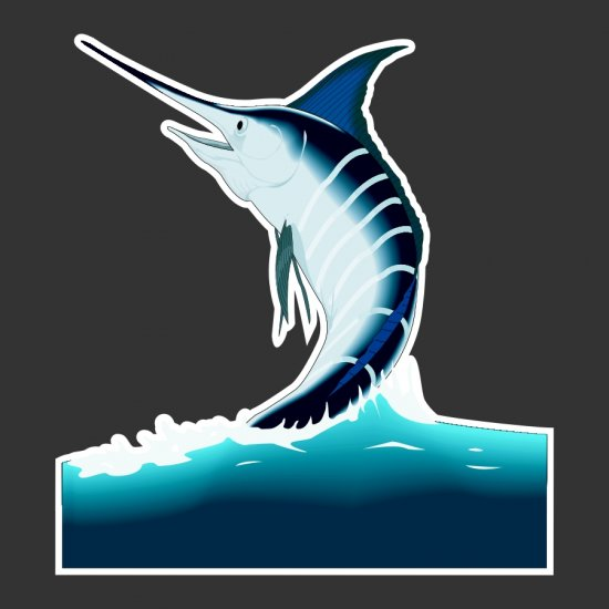 Jumping Marlin Fishing Decal