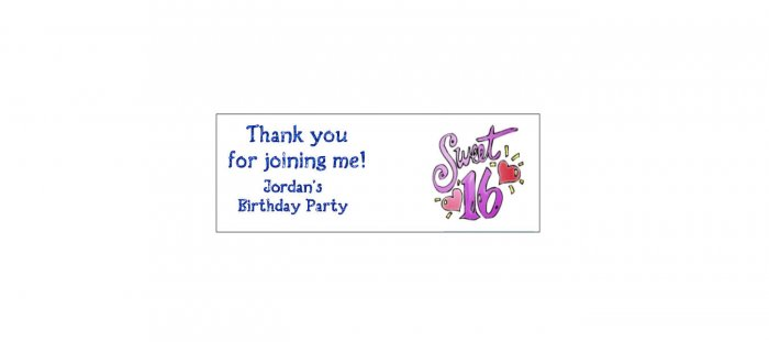 30 SWEET 16 Lollipop, Sucker Tags Labels, BIRTHDAY PARTY FAVORS