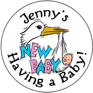108  Baby Shower Stork Hershey's Chocolate Personalized Kiss Labels  Party Favors #02