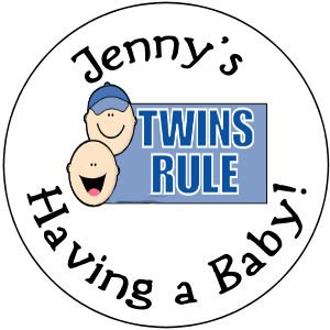 "108 Baby Shower  ""Twins Rule"" Hershey's Chocolate Personalized Kiss Labels Party Favors #12"
