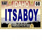 30 IDAHO License Plate BOY Baby Shower Candy Bar Wrappers Hershey's Nugget Labels Party Favors