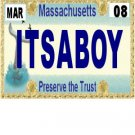 30 MASSACHUSETTS License Plate BOY Baby Shower Candy Bar Wrappers Hershey Nugget Labels Party Favors