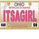 30 OHIO License Plate GIRL Baby Shower Candy Bar Wrappers Hershey's Nugget Labels Party Favors
