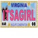 30 VIRGINIA License Plate GIRL Baby Shower Candy Bar Wrappers Hershey's Nugget Labels Party Favors