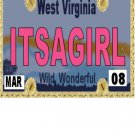 30 WEST VIRGINIA License Plate GIRL Baby Shower Candy Bar Wrappers Hershey Nugget Labels Party Favor
