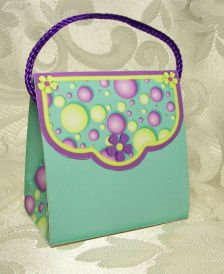 PURSE STYLE Personalized Favor Birthday or Shower Gift Goodie Boxes SET OF 6