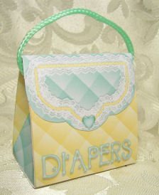 PURSE SHAPE Diaper Bag design Personalized Favor BABY Shower, Gift Goodie Boxes SET OF 6