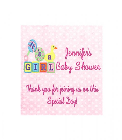 16 Baby Girl Shower  Lip Balm Chap Stick Wrapper party favor label Personalized