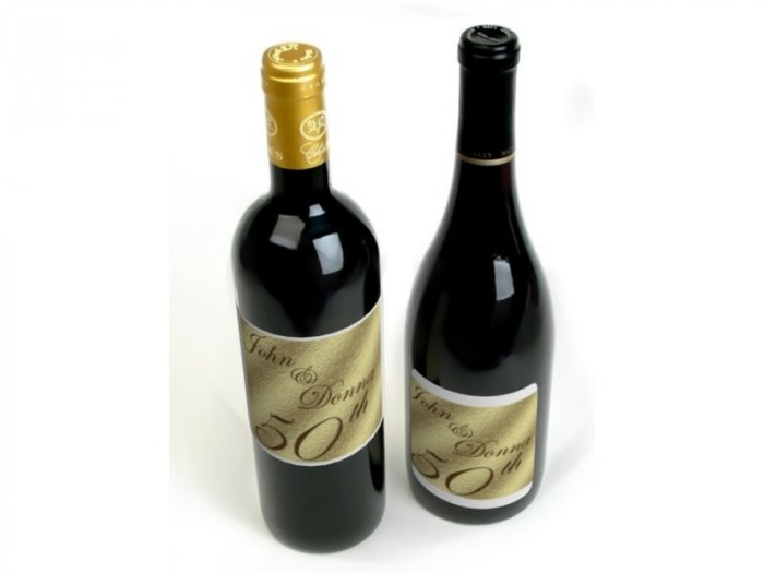 18 Golden 50th Anniversary Wine Bottle labels Party Favors High Gloss Labels