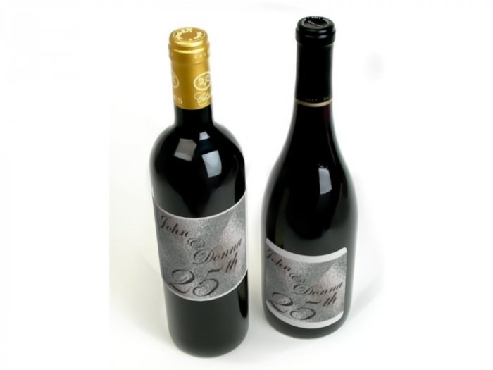 25th Silver Anniversary Wine Bottle labels Party Favors 60 High Gloss Labels