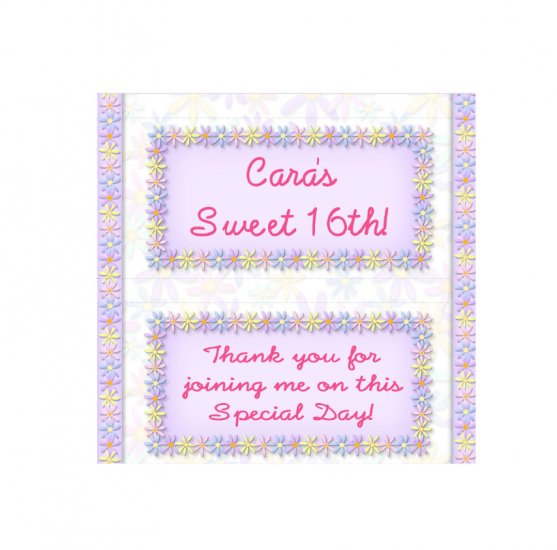 Candy Bar Box Favors Pastel Flowers frame Hershey bars PERSONALIZED Set of 6 Party Favors