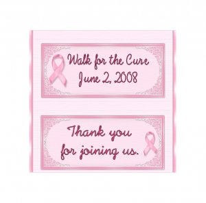 Candy Bar Box Favors PINK BREAST CANCER RIBBON Hershey bars PERSONALIZED Set of 6 Party Favors