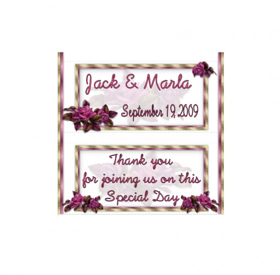 Candy Bar Box Favors ROSES Hershey bars PERSONALIZED Set of 6 Party Favors