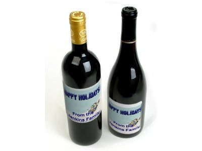CUSTOM HOLIDAY Wine Bottle labels Party Favors 60 High Gloss Labels
