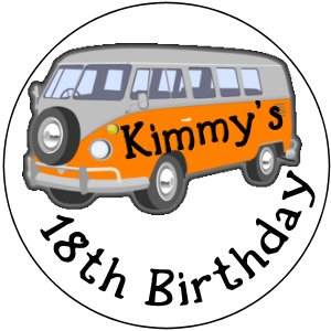 108 Hershey's Chocolate Kiss Labels VW BUS design Birthday Party Favors