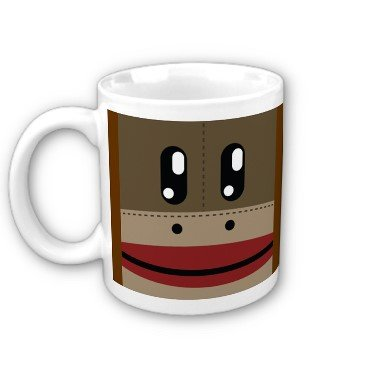 Sock Monkey Face Coffee Mug Cup