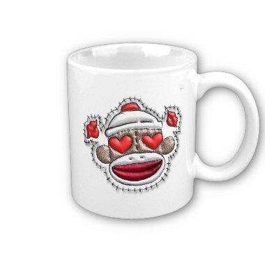 Heart Sock Monkey Face Coffee Mug Cup