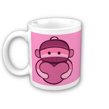Heart Pink Sock Monkey Face Coffee Mug Cup