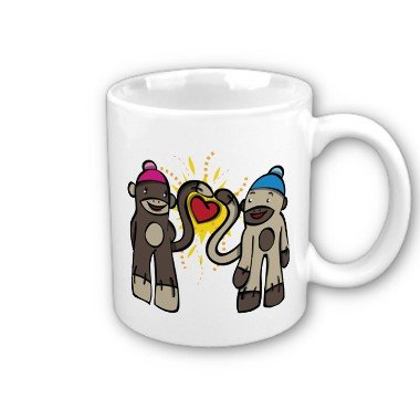 Sock Monkey Couple Coffee Mug Cup