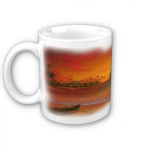 Beach Scene Sunset Coffee Mug Cup
