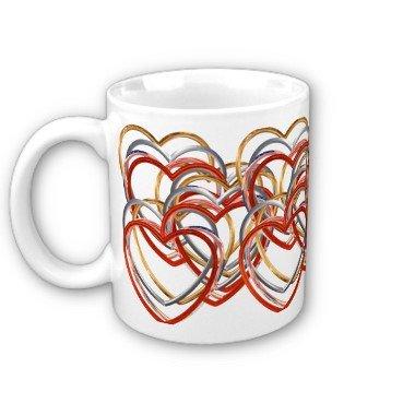 Red Hearts Coffee Mug Cup