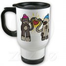 Sock Monkey Love Travel Coffee Mug Cup Stainless Aluminum