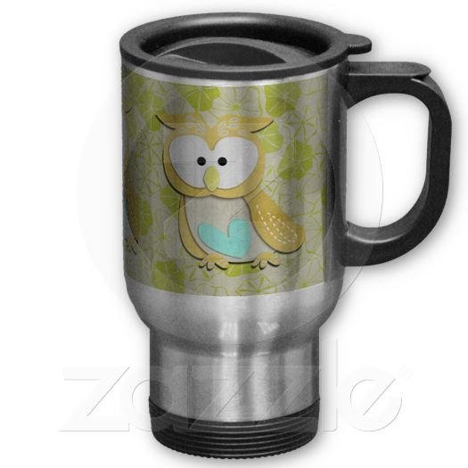 Retro Owl Travel Coffee Mug Cup Stainless Aluminum