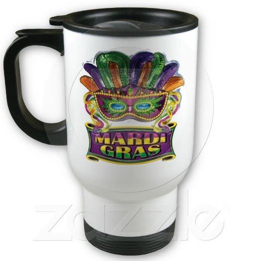 Mardi Gras Travel Coffee Mug Cup Stainless Aluminum