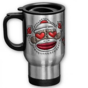 Love Sock Monkey Travel Coffee Mug Cup Stainless Aluminum