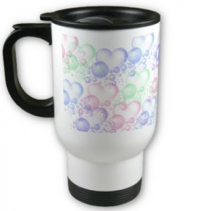 Heart Bubbles Travel Coffee Mug Cup Stainless Aluminum